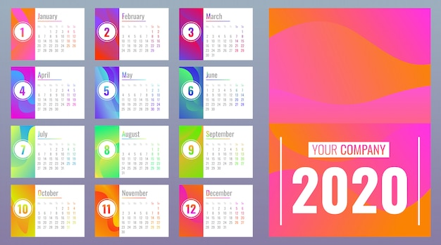 calendar 2020 with months cartoon style vector premium. Black Bedroom Furniture Sets. Home Design Ideas