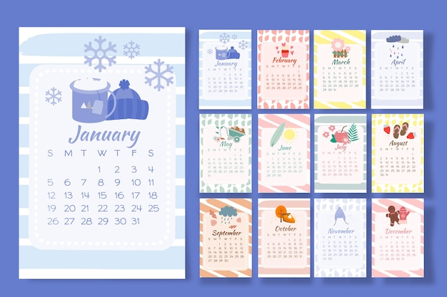 Calendar 2020 with seasonal elements Premium Vector