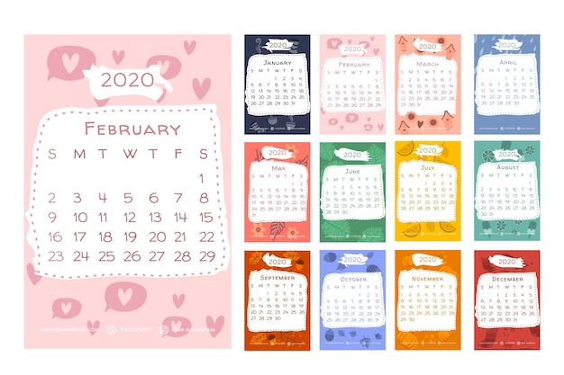 Calendar 2020 with seasonal elements Free Vector