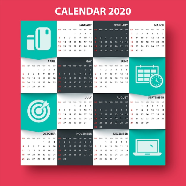 Calendar 2020 year. business template Premium Vector