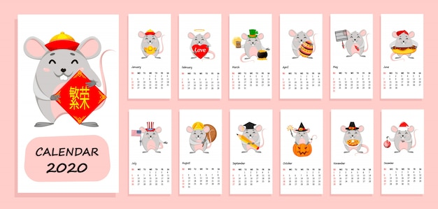 Calendar of 2020 year with funny rats Premium Vector