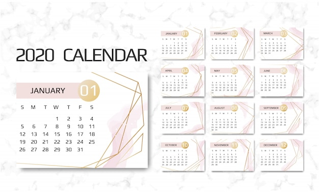 Calendario 2020 2020.Calendar 2020 Vector Premium Download