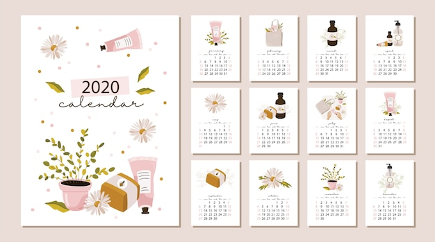 Calendario 206.Calendar 2020 Vector Premium Download