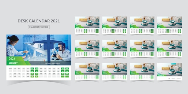 Calendar for 2021. week starts on monday. Premium Vector