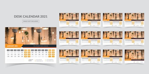 Calendar for 2021. week starts on monday. Premium Vector