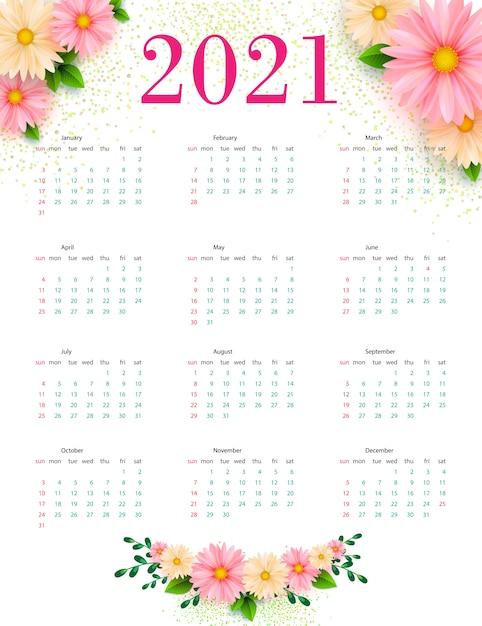 Календарь 2021 года с цветочным орнаментом. шаблон .. Premium векторы