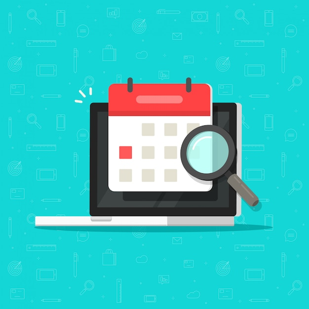 Calendar or agenda date find on laptop computer screen with magnifier glass icon flat cartoon Premium Vector