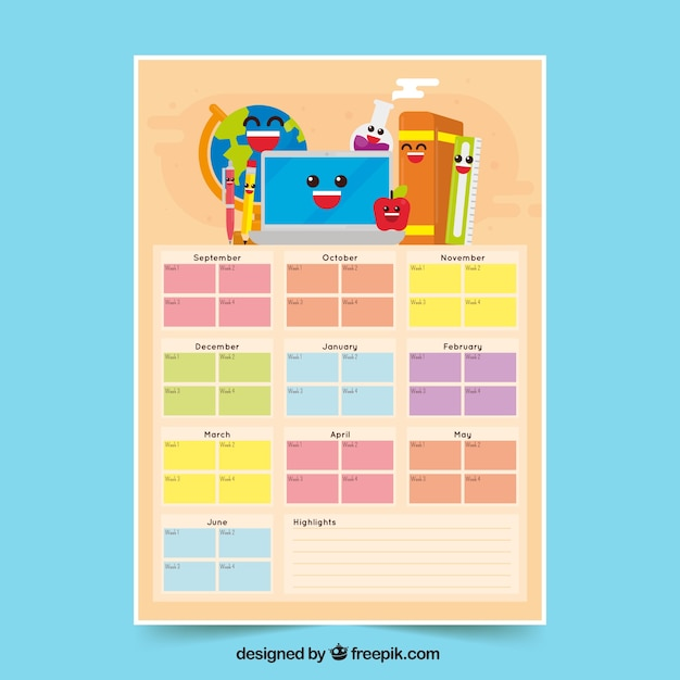 Calendar and school materials with smiley faces