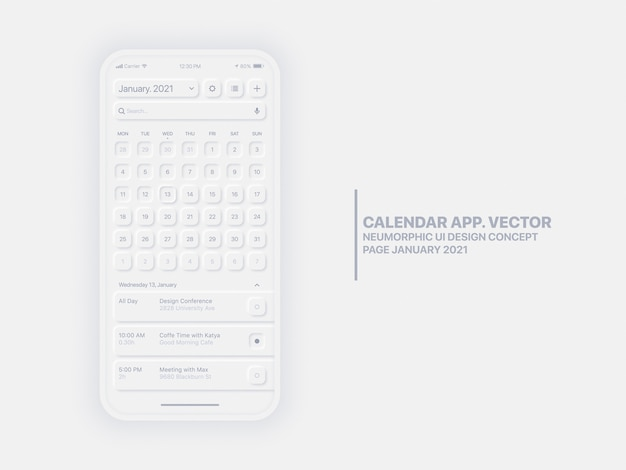 Premium Vector   Calendar app page january 2021 with to do list