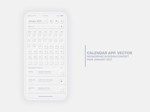 캘린더 앱 페이지 2021 년 1 월 할 일 목록 및 작업 개념 Ui Ux Neumorphic Design Mockup Isolated. 프리미엄 벡터