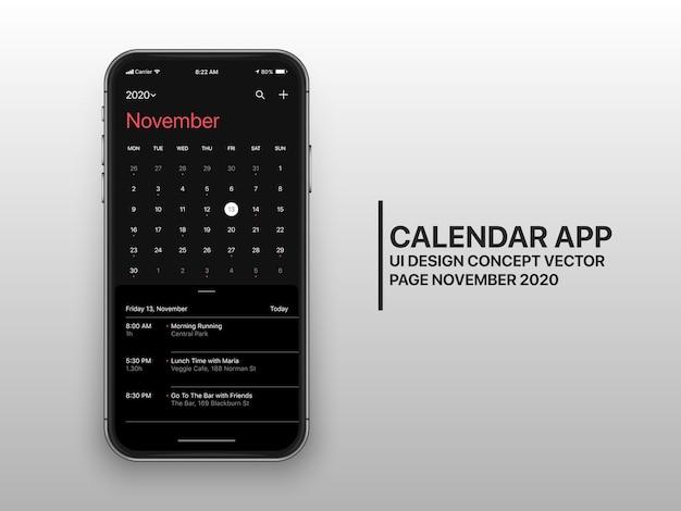 캘린더 앱 Ui Ux 개념 페이지 11 월 다크 모드 프리미엄 벡터