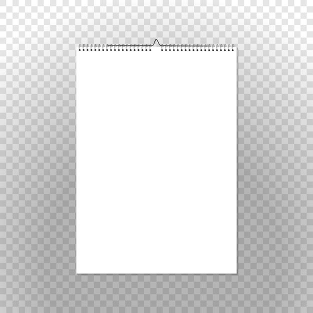 Calendar binder vertical on transparent. spiral bound vector wall calendar template Free Vector