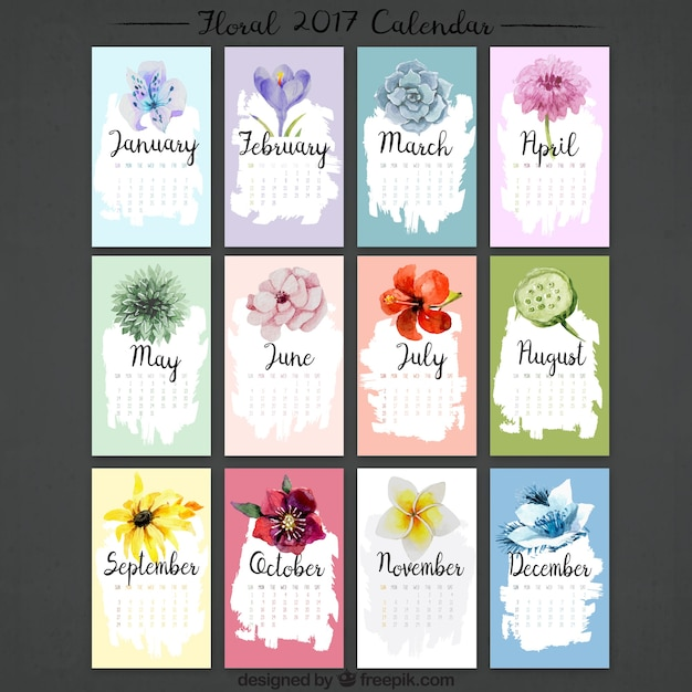 Calendar collection 2017 watercolor flowers Free Vector