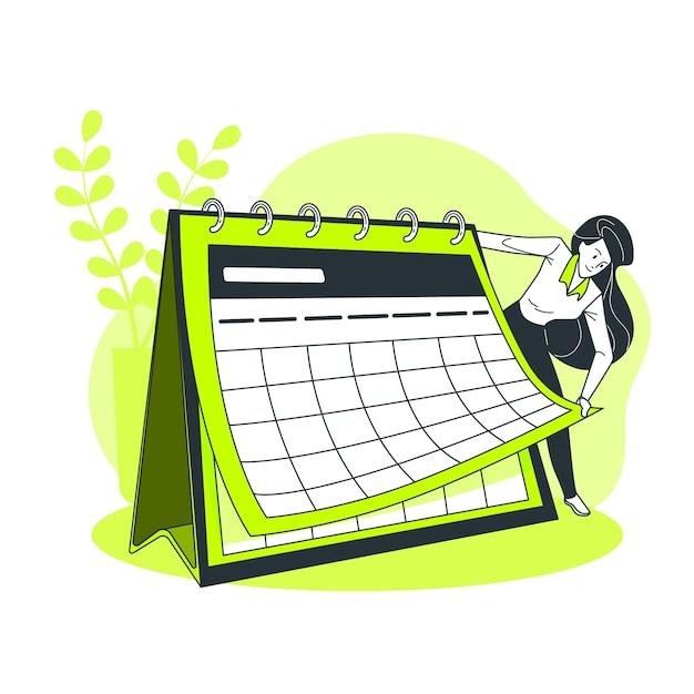 Calendar concept illustration Free Vector
