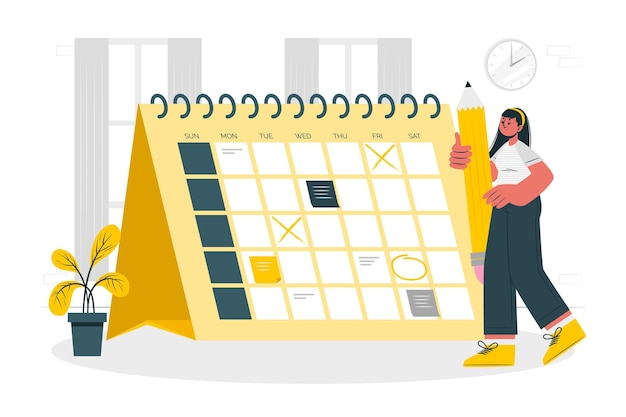 Illustrazione del concetto di calendario Vettore gratuito