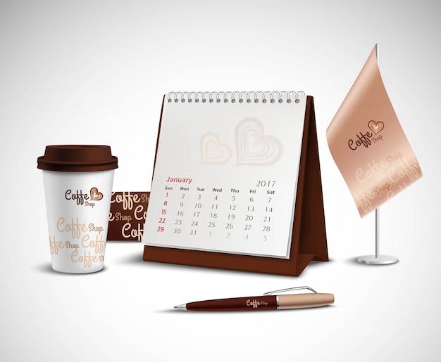 Calendar corporate identity mockup set Free Vector