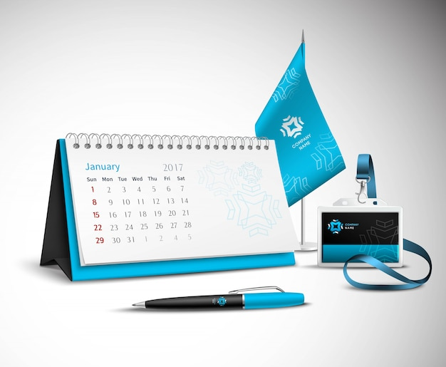 Calendar corporate identity mockup set Free Vector