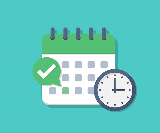 Calendar deadline with check and clock in a flat design Premium Vector