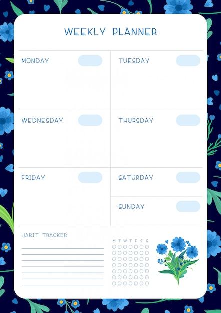 꽃 꽃과 꽃잎 달력 디자인. 주 시간표 및 습관 추적기 블루 야생 꽃 플랫 템플릿. 무료 벡터