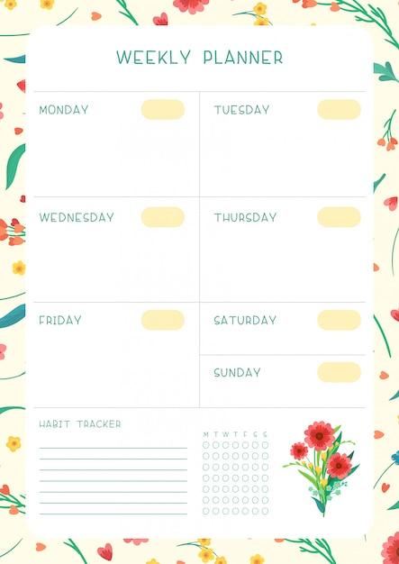 꽃 피는 꽃잎과 달력 디자인. 주 시간표 및 습관 추적기 야생 꽃 무료 벡터