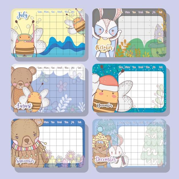 Calendar event with cute animal design Premium Vector