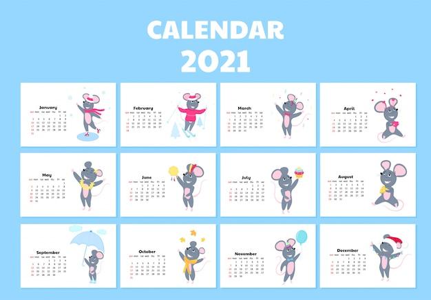 Календарь на 2021 год с воскресенья по субботу. симпатичные крысы в разных костюмах. мышь мультипликационный персонаж. Premium векторы