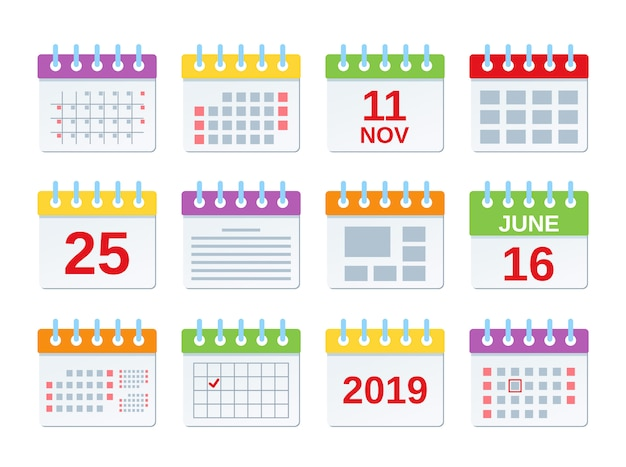 Calendar icon,  set of annual date appointments, year events template Premium Vector
