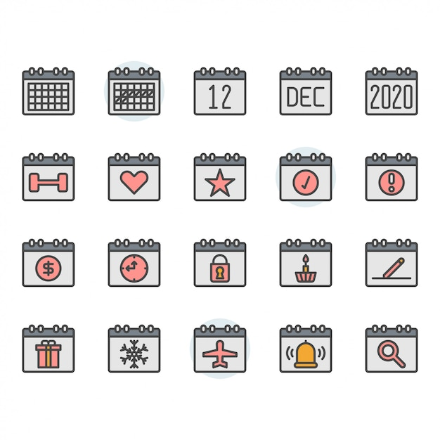 Calendar icon and symbol set Premium Vector