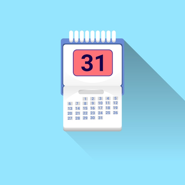 Calendar icon with shadow on blue background Premium Vector