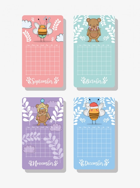 Calendar information with cute animals and plants Premium Vector