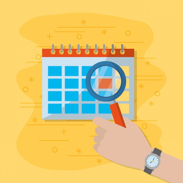Calendar and magnifying glass Premium Vector