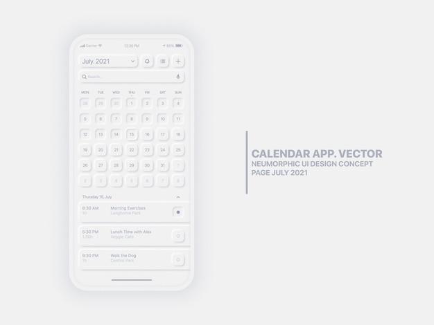 Страница календаря в мобильном приложении июль с диспетчером задач концептуальный пользовательский интерфейс неуморфный дизайн ux Premium векторы
