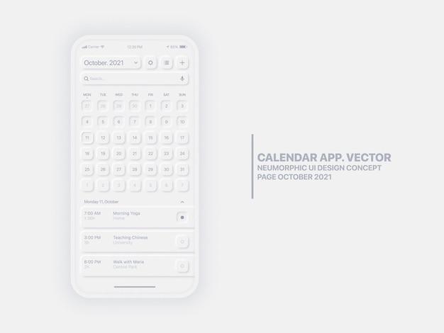 캘린더 모바일 앱 페이지 10 월 작업 관리자 포함 개념 Ui Ux Neumorphic 디자인 템플릿 프리미엄 벡터