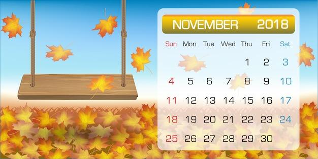 calendar of november sample 2018 with autumn leaf swing premium vector