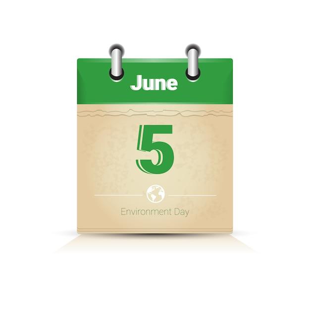 カレンダーpage 5 6月世界環境デーエコロジー保護ホリデーグリーティングカード Premiumベクター