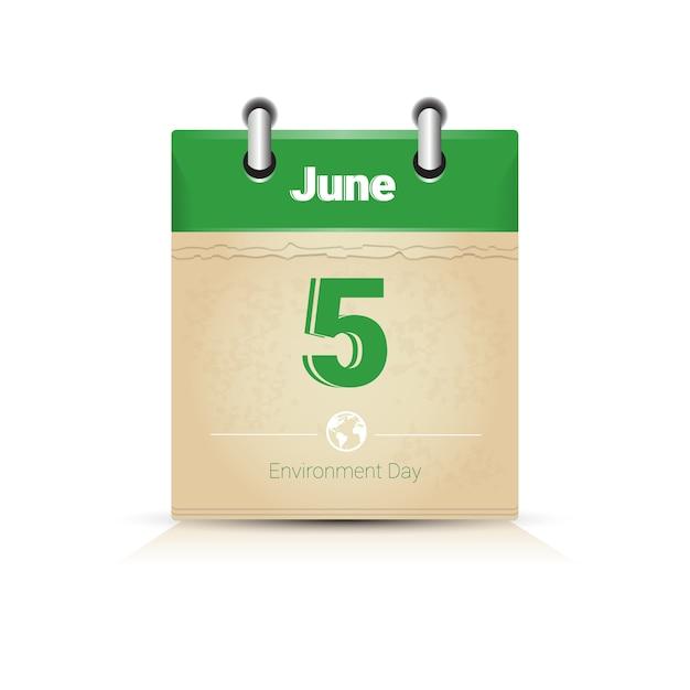 カレンダーpage 5 june世界環境デー Premiumベクター