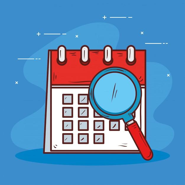 Напоминание календаря с увеличительным стеклом Premium векторы