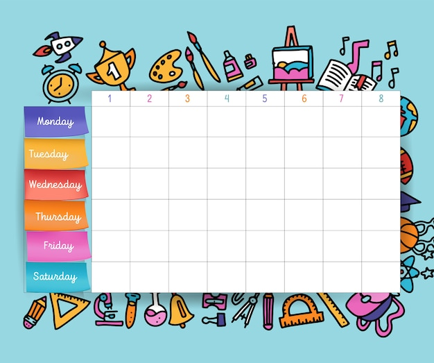 Calendar schedule with stickers. school planning or scheduling work. vector volume illustration. template school timetable for students and pupils. Premium Vector