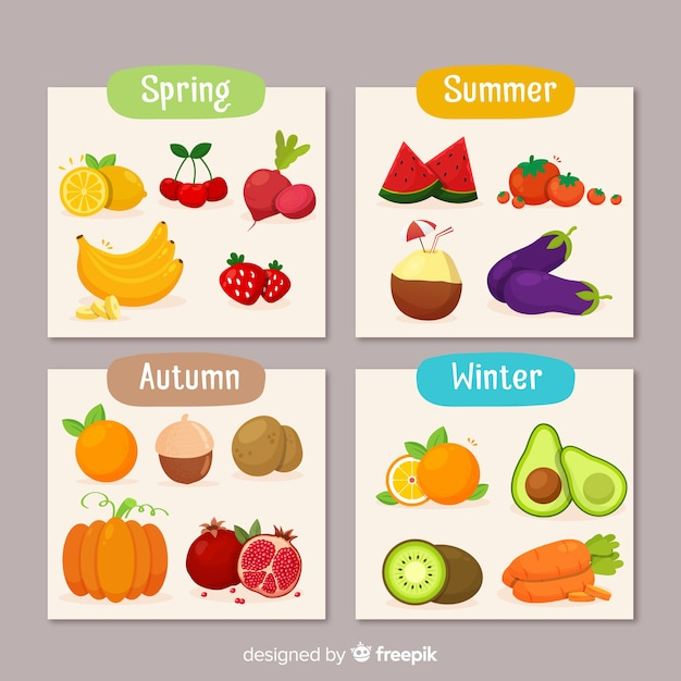 Calendar of seasonal vegetables and fruits Free Vector