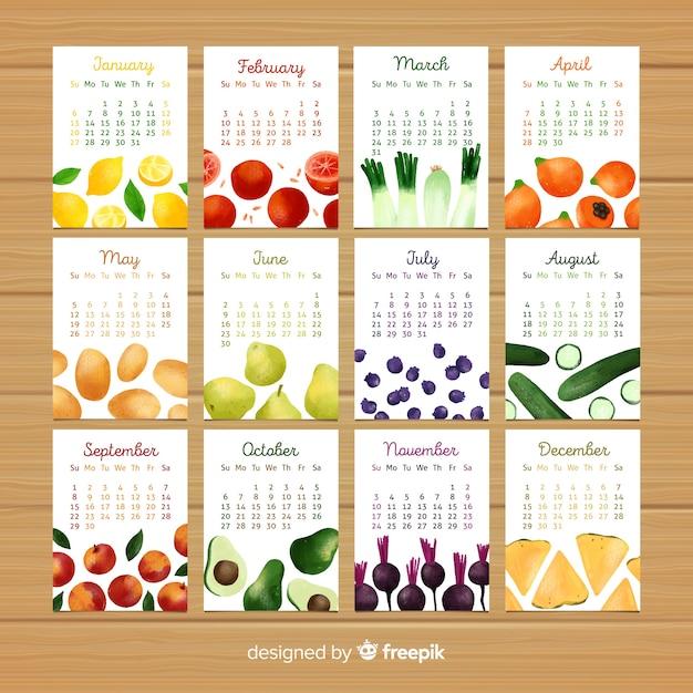Calendar of seasonal vegetables and fruits Free Vector