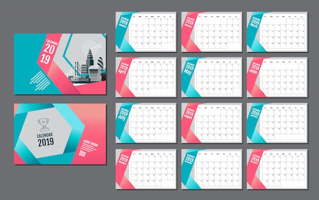 Calendar template for 2019 year Premium Vector
