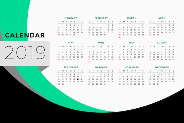 Calendar template design for year 2019 Free Vector