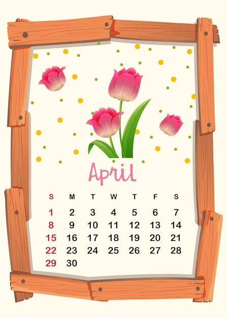 Calendar template for April with pink\ tulip