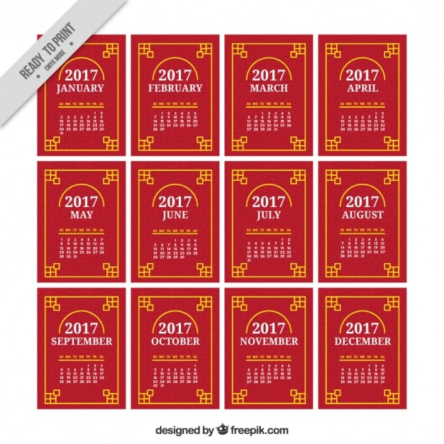 Calendar template for chinese new year