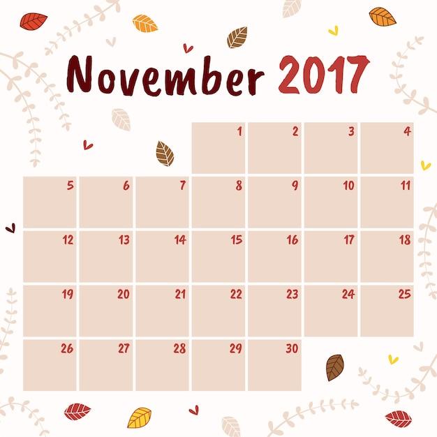 Calendar Template For November Vector Free Download
