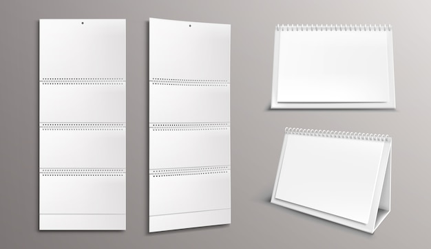 Calendar template with blank pages and binder Free Vector