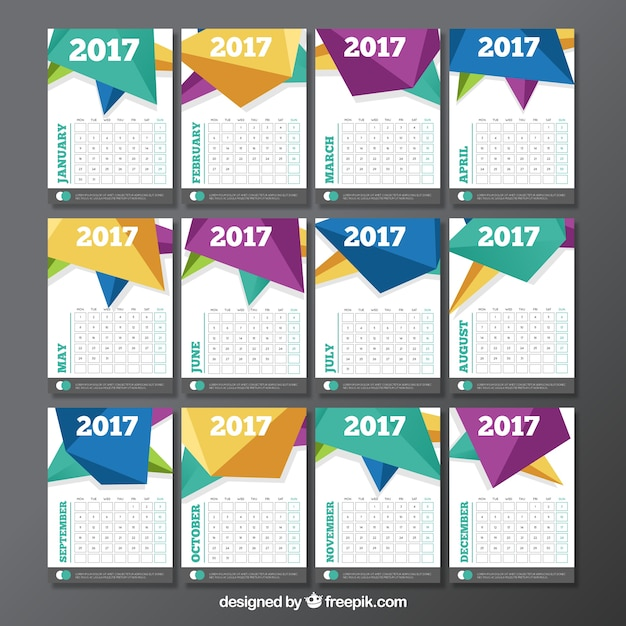 Calendar Template With Polygonal Design Vector | Free Download