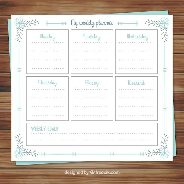 Calendar weekly planner in floral style