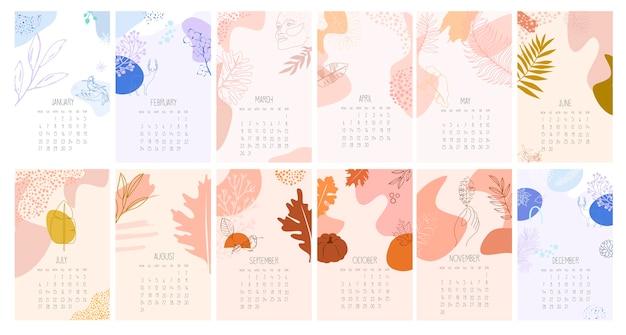 Календарь с абстрактными минималистичными изображениями. годовой планировщик на все месяцы. организатор и расписание. Premium векторы