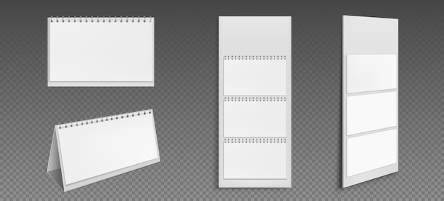 Calendar with blank pages and binder. desktop and wall paper calender front and side view. agenda, almanac template isolated on transparent background. realistic 3d illustration, set Free Vector